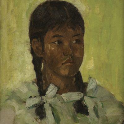 ZHONG PAI MU, <em>PORTRAIT OF A GIRL</em>, 1945, Oil on canvas laid on board, 48cm x 41cm, estimate RM 25,000 – 40,000