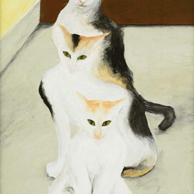 DZULKIFLI BUYONG, <em>TIGA KUCING (THREE CATS)</em>, 1994, Oil on plywood, 175cm x 47cm, estimate RM 40,000 – 60,000